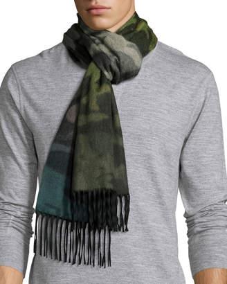 Co Begg & Nuance Camouflage Cashmere Scarf w/Fringe, Green