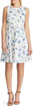 Chaps Floral Stretch Fit--Flare Dress