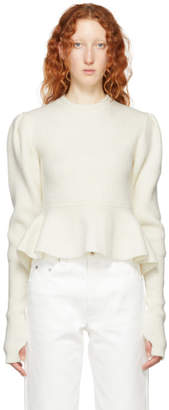 Lemaire White Wool Puffy Sweater