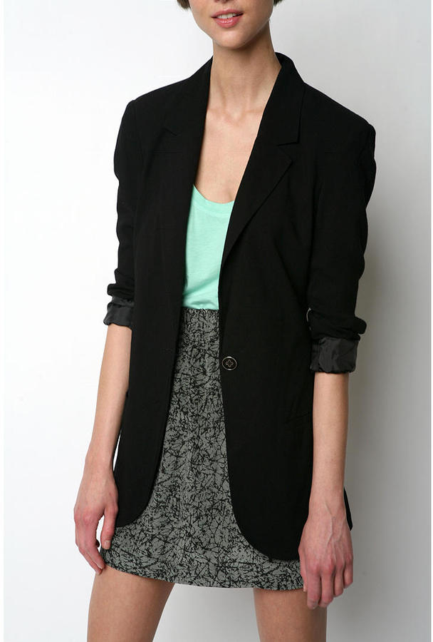 Silence & Noise Black Long Party Blazer