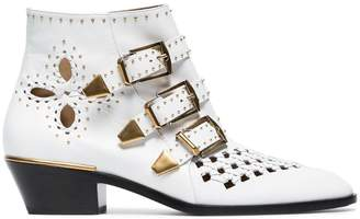 Chloé white Susanna 30 studded leather boots