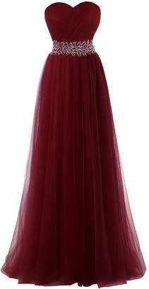 WenSai Womens Sweetheart Tulle Prom Dresses Long Bridesmaid Gown with Beads us