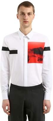 Neil Barrett Liquid Ink Printed Cotton Blend Shirt