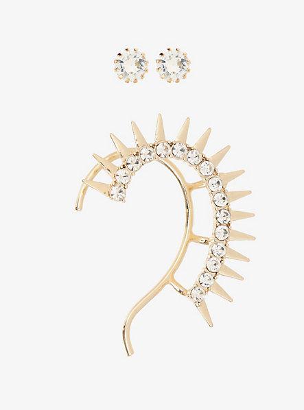 Torrid Jeweled Studs & Spiked Ear Cuff Earring Pack