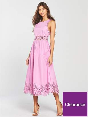 Ted Baker Viiolet A-line Midi Embroidered Dress - Lilac