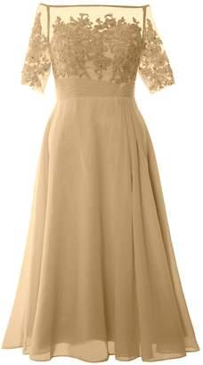 MACloth Women Off Shoulder Mother of Bride Dress Tea Length Formal Evening Gown
