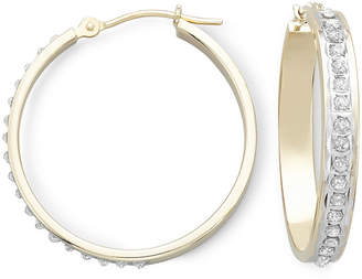 JCPenney FINE JEWELRY Diamond Fascination 14K Yellow Gold Medium Hoop Earrings