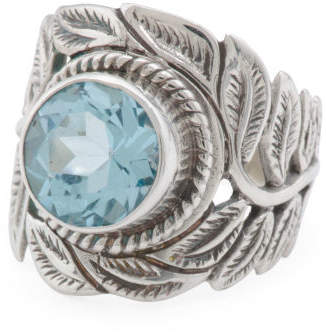 Made In Bali Sterling Silver Blue Topaz Leaf Ring