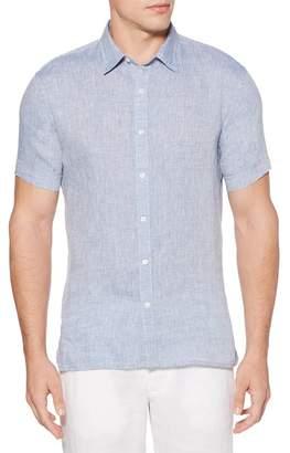 Perry Ellis Short Sleeve Solid Linen Regular Fit Shirt