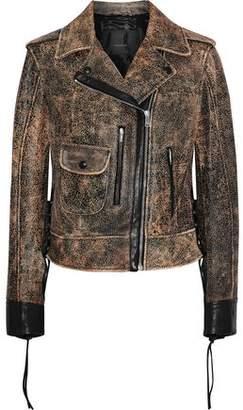 Belstaff Elmely Lace-Up Cracked-Leather Biker Jacket