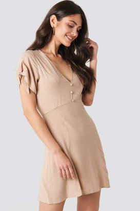 NA-KD Tie Sleeve Mini Dress Beige