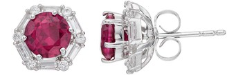 Sterling Silver Lab-Created Ruby & White Sapphire Halo Hexagon Stud Earrings