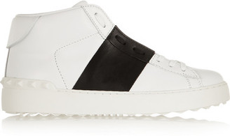 Valentino - Open Leather High-top Sneakers - White $795 thestylecure.com