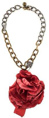 Lanvin Flower & Crystal Safety Pin Necklace