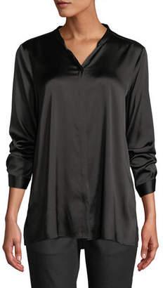 Eileen Fisher Silk Charmeuse Mandarin-Collar Shirt