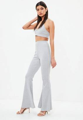 Missguided Gray Ribbed Kick Flare Pants