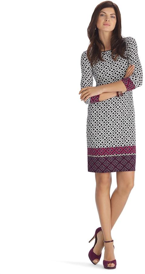 White House Black Market 3/4 Sleeve Geometric Print Border Dress