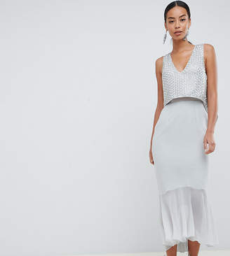 Asos Tall DESIGN Tall EXCLUSIVE crop top embellishment with pep hem
