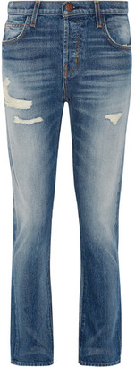Current/Elliott - The Slouchy Cropped Distressed Jeans - Mid denim $250 thestylecure.com