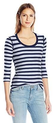 Three Dots Women's Stripe Three Quarter Sleeve Scoop Neck Tee