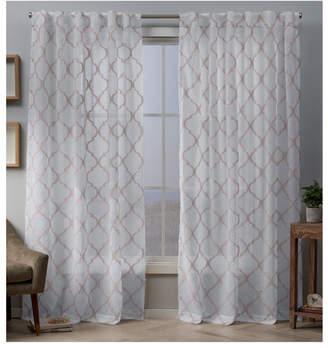 "Exclusive Home Aberdeen Sheer Woven Trellis Embellished Hidden Tab Top 54"" X 84"" Curtain Panel Pair"