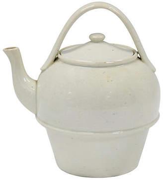 One Kings Lane Vintage Antique English Creamware Teapot - Rose Victoria