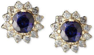 Effy Royalty Inspired by Sapphire (5/8 ct. t.w.) and Diamond (1/4 ct. t.w.) Round Stud in 14k Gold
