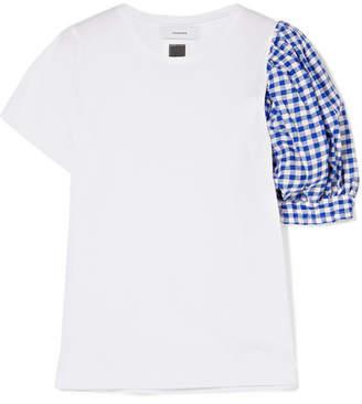 Facetasm Gingham Linen-paneled Cotton-jersey T-shirt - White