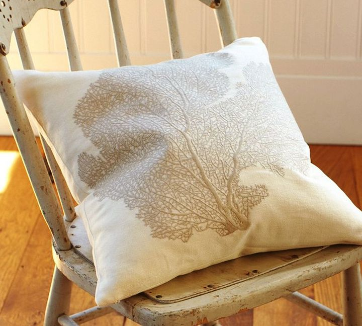 Fan Coral Embroidered Pillow Cover