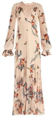 Katie Eary Fish-print silk-chiffon maxi dress