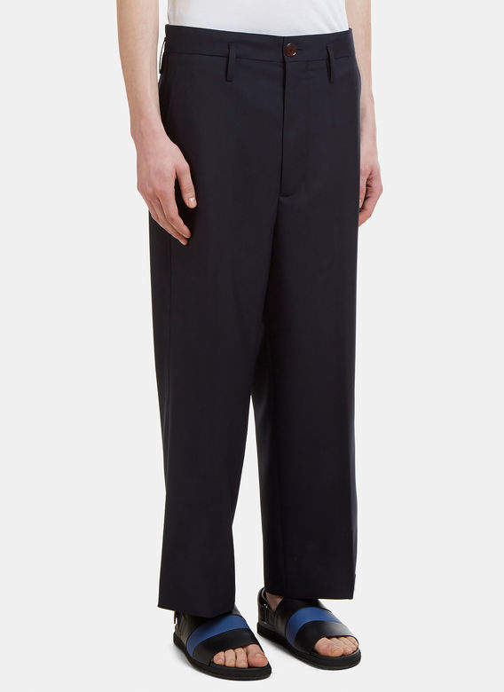 Tailored Wool Pants in Navy