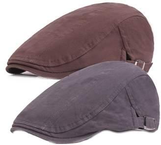 abb5c2a26b781 King Star 2 Pack Men Cotton Solid Ivy Irish Cabbie Newsboy Hat Scally Flat  Caps Brown