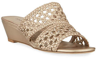 Donald J Pliner Albi Woven Metallic-Leather Demi-Wedge Slide Sandals