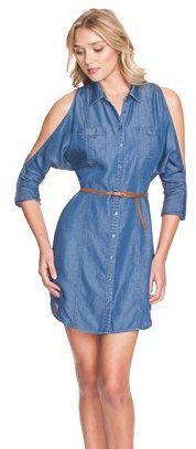 GUESS Three-Quarter Sleeve Denim Shirtdress