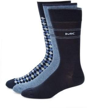 Michael Kors Three-Pack Logo Crew Socks
