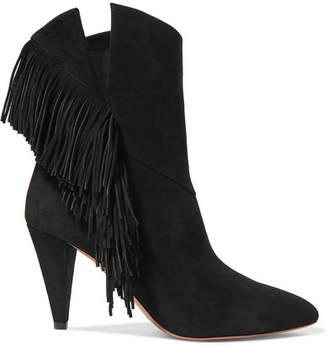 Aquazzura Wild Fringe 90 Fringed Suede Ankle Boots - Black