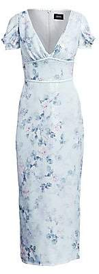 Marchesa Women's Puff Sleeve Sequin Floral Dress - Size 0