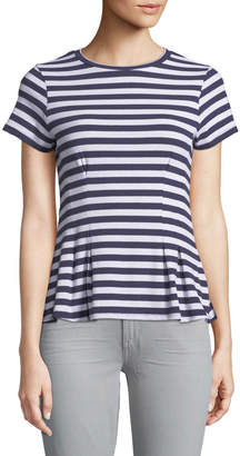 Love, Fire Seamed-Front Striped Peplum Tee