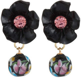 Emily and Ashley Greenbeads By Floral & Drop Earrings, Black