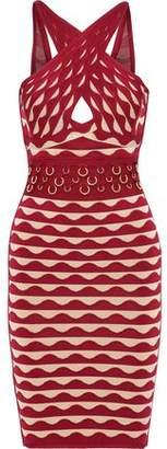 Herve Leger Kenna Ring-Embellished Jacquard-Knit Bandage Mini Dress