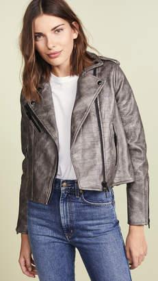 Blank Croc Embossed Vegan Leather Moto Jacket