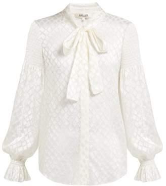 Diane von Furstenberg Caroline Diamond Jacquard Blouse - Womens - Ivory
