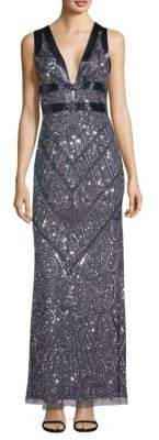 Aidan Mattox Embroidered Mermaid Gown
