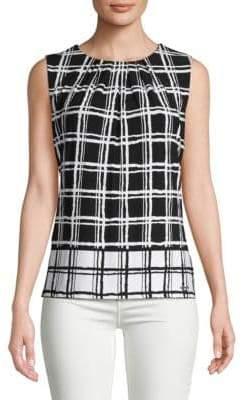 Calvin Klein Sleeveless Grid Print Blouse