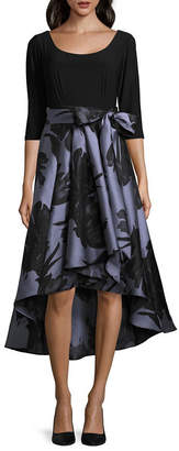 R & M Richards 3/4 Sleeve Embellished Abstract Fit & Flare Dress-Petite