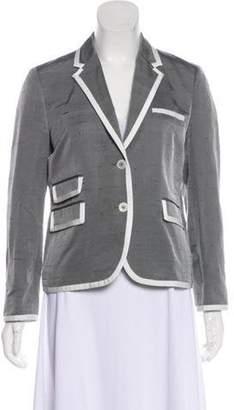 Black Fleece Silk Structured Blazer Grey Silk Structured Blazer