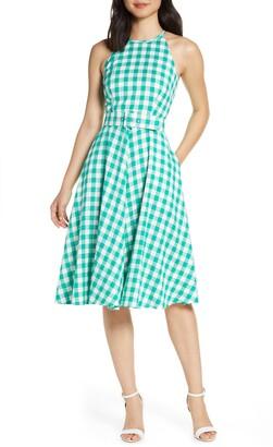 Eliza J Halter Neck Gingham Fit & Flare Dress