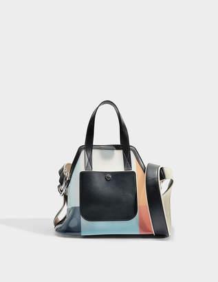Marni Small Shopping Bag in Multicolor Blue and Black Pannello