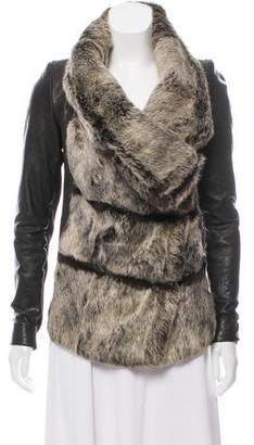 Helmut Lang Fur Accented Leather Jacket