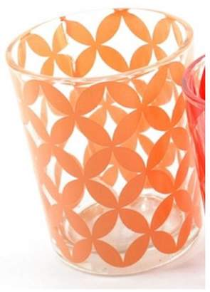 "Kaemingk Basic Luxury Peach Melba Floral Motif Glass Tea Light Candle Holder 2.5"""